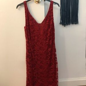 Aqua Red Lace Cocktail Dress